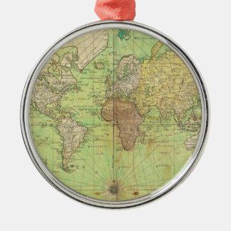 Carta 1778 de Bellin o mapa náutica del mundo Adorno Navideño Redondo De Metal