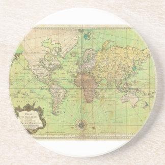 Carta 1778 de Bellin o mapa náutica del mundo Apoyavasos