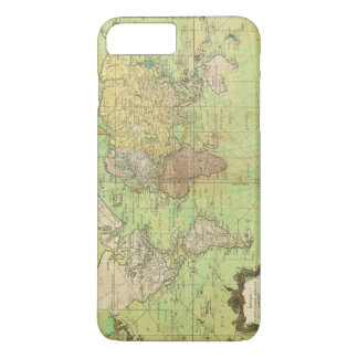 Carta 1778 de Bellin o mapa náutica del mundo Funda iPhone 7 Plus