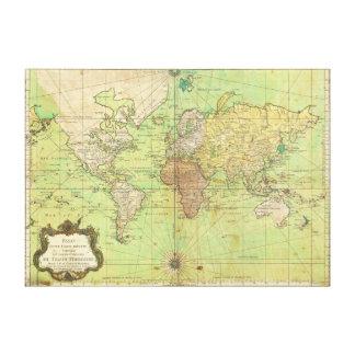 Carta 1778 de Bellin o mapa náutica del mundo Impresión En Lienzo