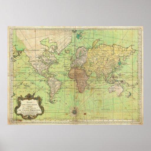 Carta 1778 de Bellin o mapa náutica del mundo Poster