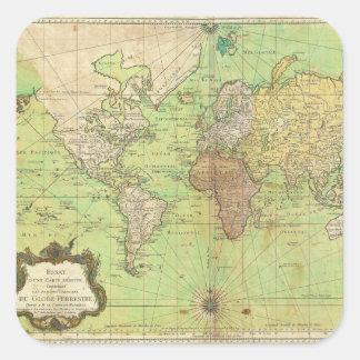 Carta 1778 de Bellin o mapa náutica del mundo Pegatina Cuadrada