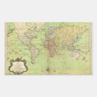 Carta 1778 de Bellin o mapa náutica del mundo Pegatina Rectangular