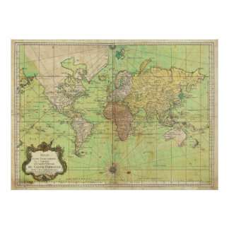 Carta 1778 de Bellin o mapa náutica del mundo Póster