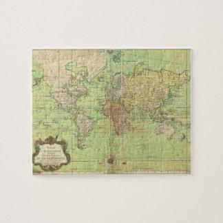 Carta 1778 de Bellin o mapa náutica del mundo Puzzle