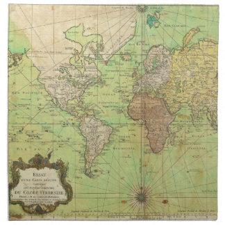 Carta 1778 de Bellin o mapa náutica del mundo Servilleta Imprimida