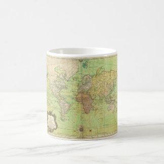 Carta 1778 de Bellin o mapa náutica del mundo Taza De Café