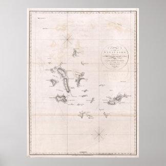 Carta 1793 de las Islas Galápagos Póster
