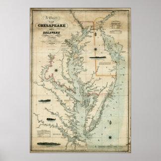 Carta 1852 del Chesapeake y de las bahías de Delaw Poster