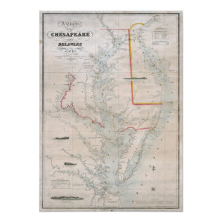 Carta 1852 del Chesapeake y de las bahías de Delaw Posters