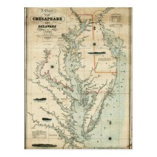 Carta 1852 del Chesapeake y de las bahías de Tarjeta Postal