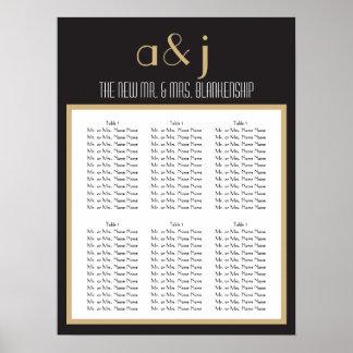 Carta 2 del asiento del boda del monograma del art póster