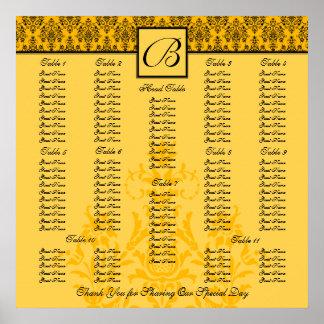 Carta amarilla del asiento de la recepción nupcial póster