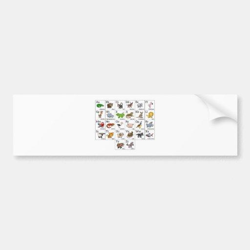 Carta animal del alfabeto del dibujo animado pegatina de parachoque
