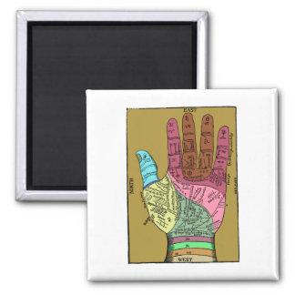 Carta antigua de la lectura de la palma imán cuadrado