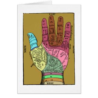 Carta antigua de la lectura de la palma tarjeta de felicitación