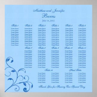 Carta azul del asiento de la huésped de la recepci impresiones