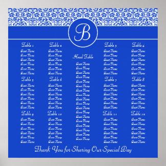 Carta azul del asiento de la recepción nupcial del póster