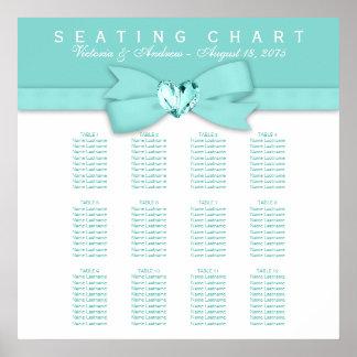 Carta azul del asiento del boda del trullo póster
