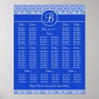Carta azul marino del asiento de la recepción nupc póster