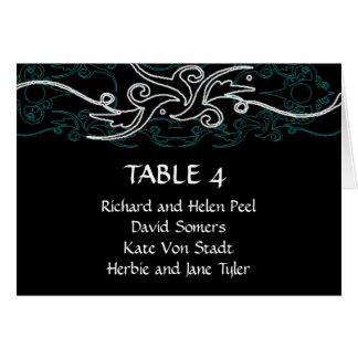 Carta azul y negra del asiento del boda tarjeta pequeña