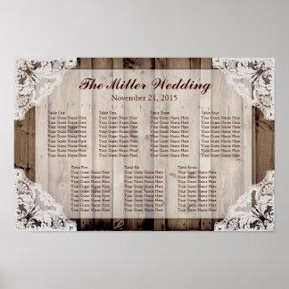 Carta blanca antigua del asiento del boda del cord póster