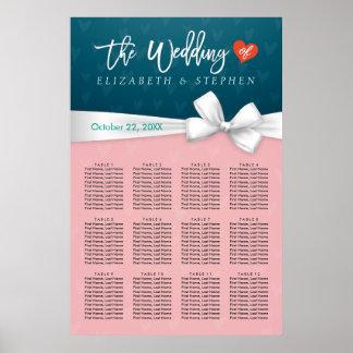 Carta blanca azul rosada elegante del asiento del póster