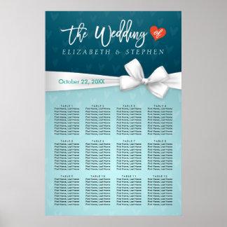 Carta blanca del asiento del boda de la cinta de póster