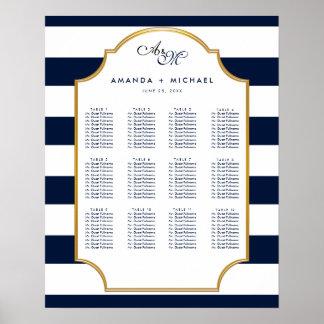 Carta blanca náutica del asiento del boda de la póster
