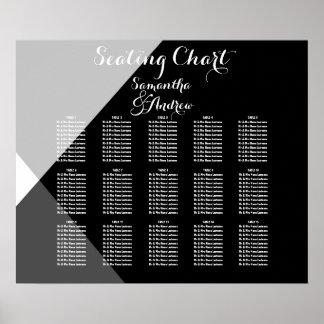 Carta blanca negra moderna del asiento de la tabla póster