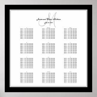 Carta blanco y negro del asiento del boda para 240 póster