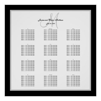 Carta blanco y negro del asiento del boda para 300 póster