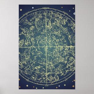 Carta celestial del espacio póster