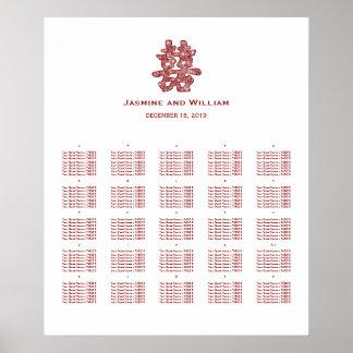 Carta china del asiento del boda de la felicidad póster