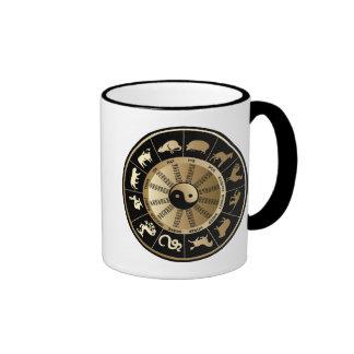 Carta china del zodiaco - año del dragón tazas de café