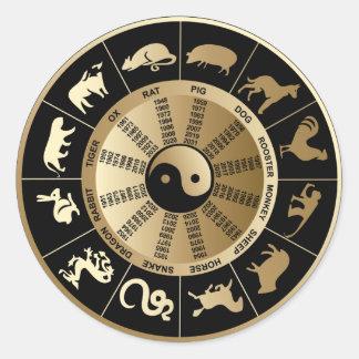 Carta china del zodiaco pegatina redonda