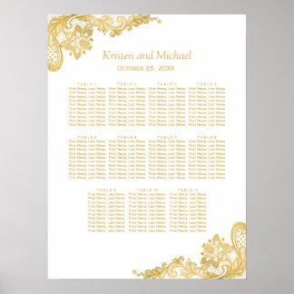 Carta con clase del asiento del boda del cordón póster