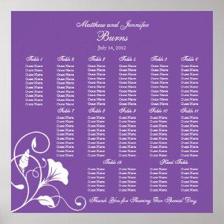 Carta cuadrada púrpura del asiento de la recepción poster