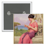 Carta de amor del Le, 1913 Pin Cuadrado