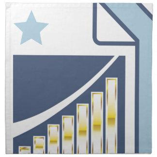 Carta de barra de oro en el icono de papel de la servilletas imprimidas