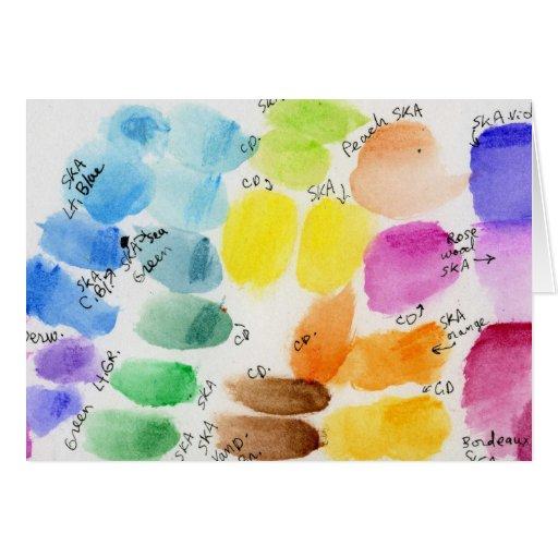 Carta de color de la pintura de la acuarela tarjeta de felicitación