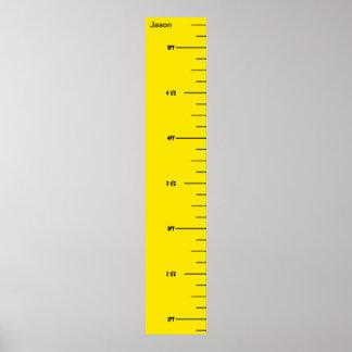 Carta de crecimiento amarilla de la regla posters