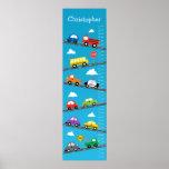 Carta de crecimiento de los niños - coches y camio poster