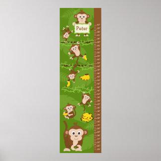 Carta de crecimiento de los niños - monos posters