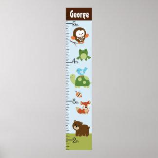 Carta de crecimiento personalizada de los animales póster