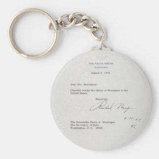 Carta de dimisión de presidente Richard M. Nixon Llavero