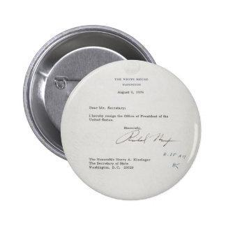 Carta de dimisión de presidente Richard M. Nixon Pin Redondo 5 Cm