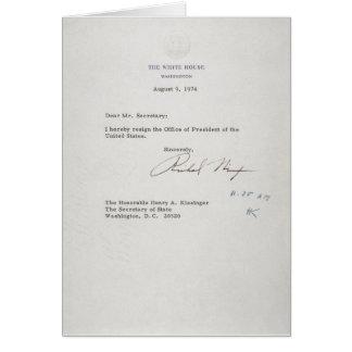 Carta de dimisión de presidente Richard M. Nixon Tarjeta De Felicitación