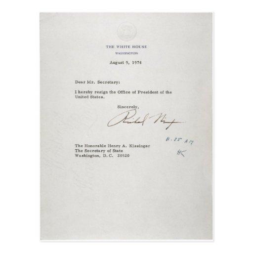 Carta de dimisión de presidente Richard M. Nixon Postal