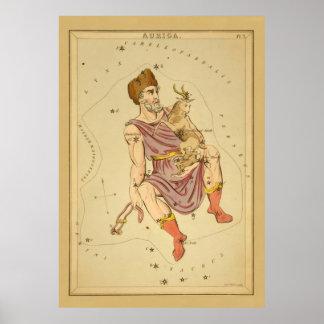 Carta de estrella astronómica del vintage del auri impresiones